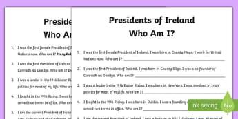 Presidents of Ireland Who Am I? Activity Sheet-Irish