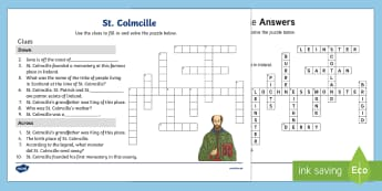 St. Colmcille Crossword Activity Sheet
