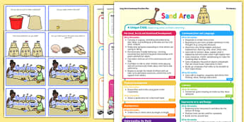 Sand Area Continuous Provision Plan Poster and Challenge Cards Pack Nursery FS1