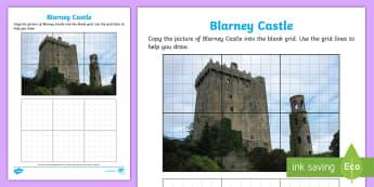 Blarney Castle Art Activity Sheet - ROI - The World Around UsWAU, art, drawing, castle, WORKSHEET, Irish