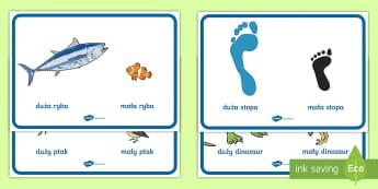 Plakaty Porównywanie wielkości Mały i duży - mały, mała, duży, duża, stopa, ptak, ryba, matematyka, wielkość, wielkości, porównywanie, pl