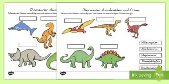 Dinosaurier Ausschneiden und Orden Arbeitsblatt - Dinosaurier Ausschneiden und Ordnen Arbeitsblatt, Dinosaurier Arbeitsblatt, Ausschneiden und Orden,