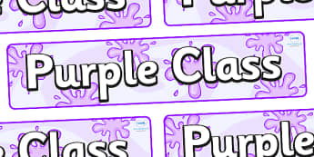 Purple Themed Classroom Display Banner - Themed banner, banner, display banner, Classroom labels, Area labels, Poster, Display, Areas