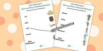Dick Whittington Word and Picture Match - matching, pictures
