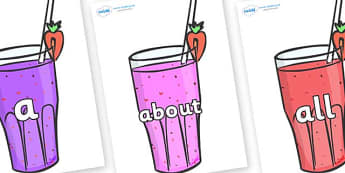 100 High Frequency Words on Smoothies - High frequency words, hfw, DfES Letters and Sounds, Letters and Sounds, display words