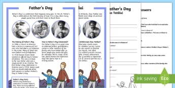KS1 Father's Day Differentiated Reading Comprehension Activity English/Romanian - Father's Day, KS1 reading, celebrations, events, non-fiction, comprehension, questions, fact file,