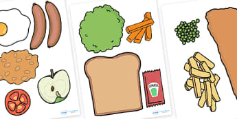 Role Play Food Cut Outs For Home Corner - role play, roleplay, roleplaying, role play food, roleplay food, houses and homes roleplay, at home roleplay home role play, kitchen role play, food role play, cooking role play, acting, role-play, role-playi