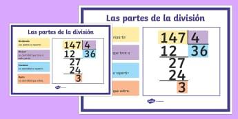 Póster DIN A2: Las partes de la división - dividir, división, repartir, cifras, divide, division, sharing, figures, digits, escrito, escrita,  - dividir, división, repartir, cifras, divide, division, sharing, figures, digits, escrito, escrita,