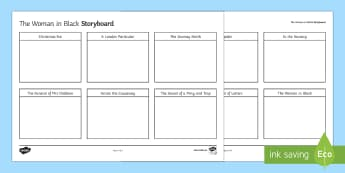 The Woman in Black Plot Storyboard Template - The Woman in Black, storyboard, plot, chapters, woman, black, hill, susan