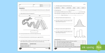 Genetics Homework Activity Sheet - Homework, genetic, genetics, variation, species, chromosome, DNA, gene, inherit, inheritance, inheri