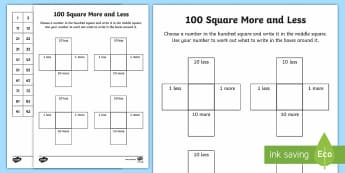 100 Square More and Less Activity - 100 square, hundred square, numbers to 100, 0-100, one more, one less, 10 more, 10 less