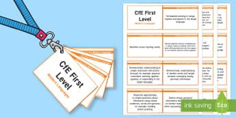 CfE First Level Modern Languages Lanyard-Sized Benchmarks - CfE Benchmarks, tracking, assessing, progression, modern languages, ml, mfl, modern foreign language