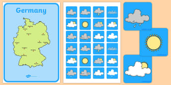 Weather Forecasting Role Play Pack Germany - germany, Weather display, Weather role play, KS1, display banner, Weather, weather chart, weather display, date display, rain, sun, snow, fog, cloud