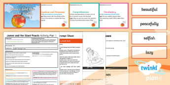 Y4 James and the Giant Peach: Activity Plan 1 PlanIt Guided Reading Pack to Support Teaching on James and the Giant Peach - James and the Giant Peach, roald dahl, insects, carousel, y4, year 4, ks2, literacy, english, noun p