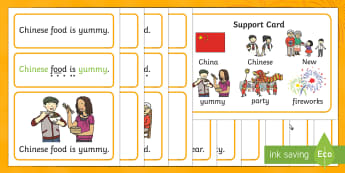 Chinese New Year Simple Sentence Cards - reading, sentences, eyfs, word cards, decoding, tricky words, sound button, phoneme, grapheme, phoni