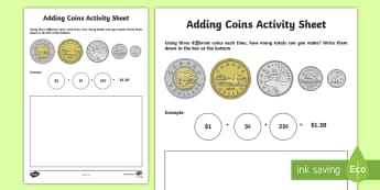 Adding Coins Activity Sheet - Math, Number Sense and Numeration, Addition, Money, Junior, Grade 4, Grade 5, Grade 6, worksheet
