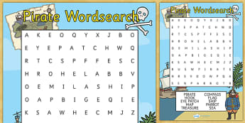 Pirate Wordsearch - pirate wordsearch, pirate, pirates, ship, wordsearch, words, search, activity, circle words, treasure, jolly roger, island, ocean