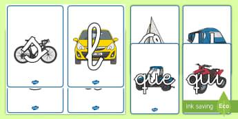 Tarjetas de fonemas: Transporte - Transporte, proyecto, coche, avión, tren, bici, bicicleta, helicóptero, camión, coete, furgoneta,