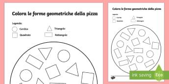 Colora le Forme Geometriche della Pizza - pizza, forme, geometriche, cerchio, quadrato, geometria