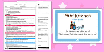 Snow Fluff Cakes EYFS Mud Kitchen Plan and Prompt Card Pack