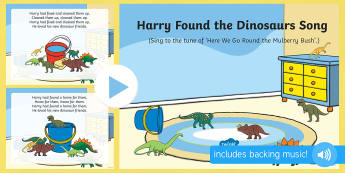 Harry Found the Dinosaurs Song PowerPoint - Harry and the Bucketful of Dinosaurs, Ian Whybrow, singing, song time, PowerPoint, dinosaurs