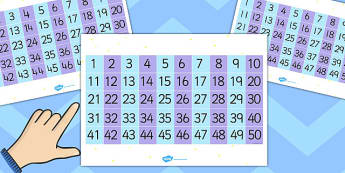 50 Grid - numbers, maths, numeracy, grids, counting, coun