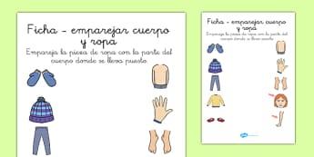 Ficha - emparejar cuerpo y ropa - spanish, clothes, body, matching, game