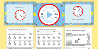 Telling the Time in Blocks of 5 Task Setter Powerpoint with Worksheets-time, telling the time, clock, blocks of five, task setter, powerpoint