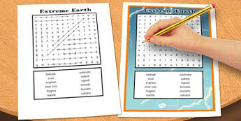 Extreme Earth Wordsearch - words, activity, activities, game