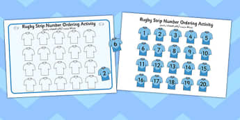 Rugby Strip Number Ordering Activity Arabic Translation - arabic