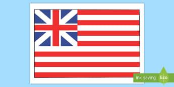 Grand Union Flag Display Poster - Social Studies, History, Colonial America, Thirteen Colonies, Original U.S. Flag