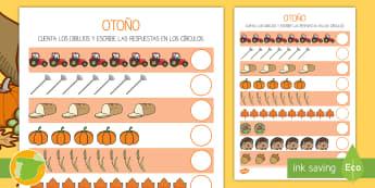 Ficha para contar: Otoño  - estaciones, cuenta, números, mates, sumar, sumas,,Spanish