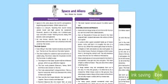 Space and Aliens Fact Sheet for Adults - Early Years, EYFS, KS1, space, rocket, spaceship, astronaut, alien, Aliens Love Underpants, Claire Freedman, science, exploration, Understanding the World