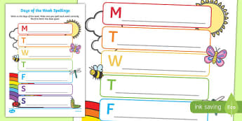 Days of the Week Spelling Activity Sheet - days of the week, spelling, spell, activity, worksheet