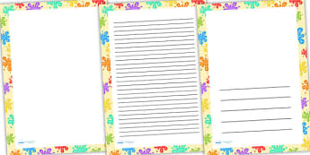 Coloured Splats Page Borders - writing templates, writing frames