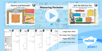 PlanIt Y3 Measurement Lesson Pack Perimeter (1) - measurement, perimeter, polygons, shape, measure the perimeter of simple 2D shapes. Maths, Y3, KS2.