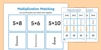 5 Times Table Multiplication Matching Puzzle - times table, multiplication, matching, puzzle, activity, 5