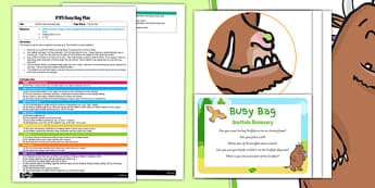 Sensory Activity To Support The Teaching On The Gruffalo EYFS Busy Bag Plan and Resource Pack - A hands on activity for young children.  Cover the Gruffalo with rice or foam.  The children can use their hands or tools find selected parts of the gruff