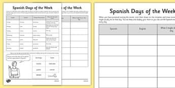Spanish Days of the Week - spanish, days of the week, days, week, language