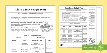 Class Camp Budget Plan Activity Sheet - money, dollars, adding money, shopping budgets, worksheet, decision, organisation, working out, addi