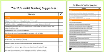 Year 2 Essential Teaching Suggestions Checklist
