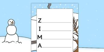 Zimowy akrostych po polsku - wiersz, pisanie, rymy, święta