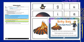 Bonfire Night Phonic EYFS Busy Bag Plan and Resource Pack - bonfire night, phonic, eyfs, busy bag