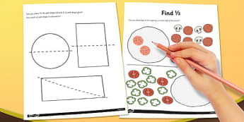 Find a Half Worksheet - find a half, worksheet, sheet, work, half