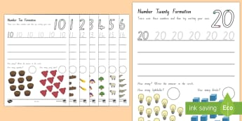 Number (10-20) Formation Activity Sheets - New Zealand, maths, handwriting, number formation, 10-20, numbers, worksheets, counting