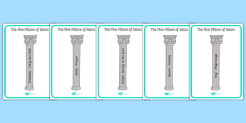 The Five Pillars of Islam Display Posters - Religion, faith, muslim, mosque, allah, God, RE, five pillars
