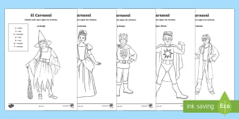 Carnival Costumes Colour by Number - Carnival, Spanish, languages, el carnaval, colour by number, sheets, worksheet, costumes,