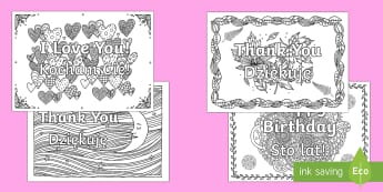 Greetings Mindfulness Colouring Pages English/Polish - mindful, mindfulness, colouring, colours, i love you, happy birthday, thank you, thanks, congratulat
