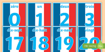 French Numbers 0-20 Posters  - number, french, 1-20, twenty, one, france, numbers, nombes, 0-20, nubers, numracy