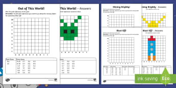 Back to Earth with a Bump Grid References Activity Sheets  - Back to Earth with a Bump, space, planets, night and day, dark, sun, Mars, moon, stories, picture bo